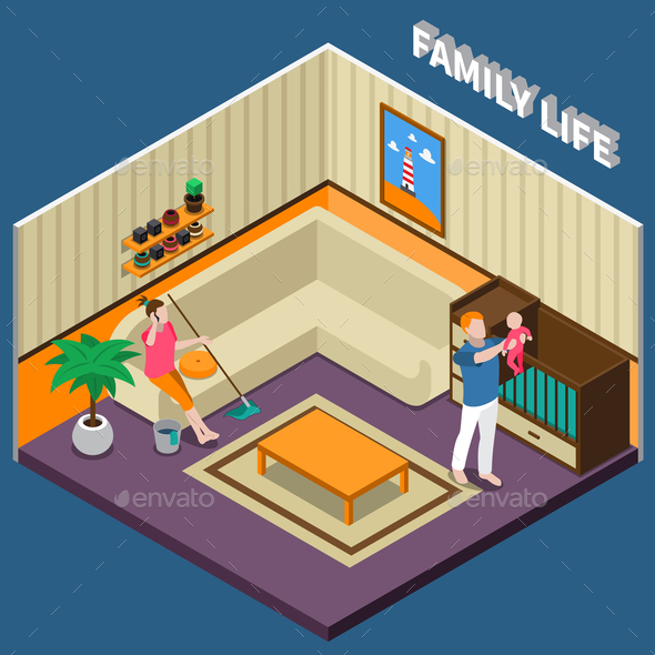 Family Life Isometric Composition