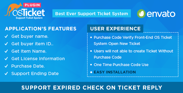 Envato Purchase Code Verifier For OsTicket System