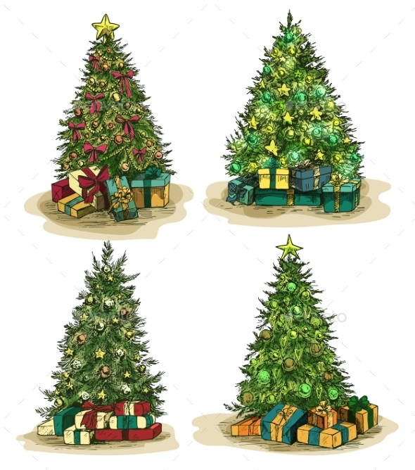 Box Gifts Under Fir-Tree at New Year or Xmas Eve
