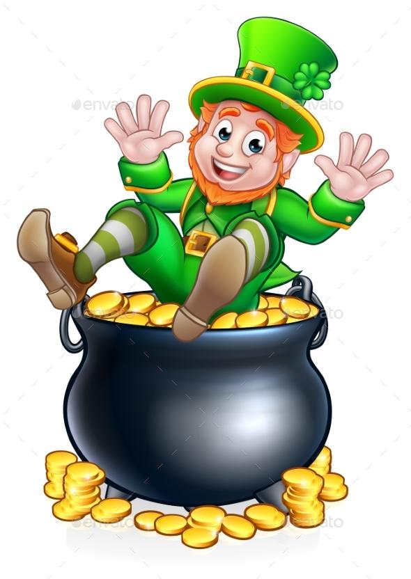 St Patricks Day Leprechaun and Pot of Gold