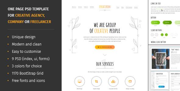 Creatikon | One Page PSD Template for Digital Agency, Creative Company or Freelancer