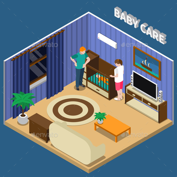 Baby Care Isometric Composition