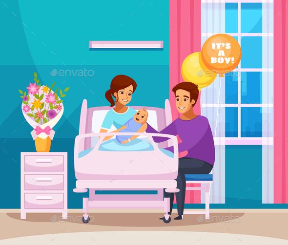 Childbirth Cartoon Composition