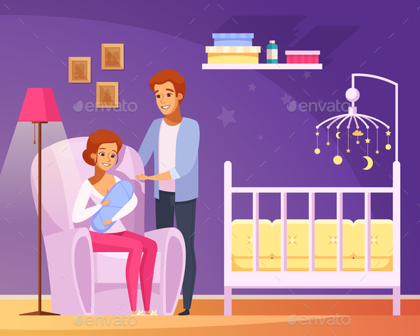 Breastfeeding Cartoon Composition