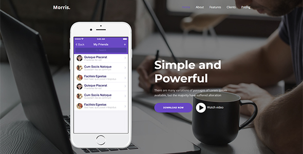 Morris - WordPress App & Product Landing Page