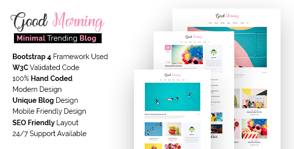 Good Morning - SEO Friendly Minimal Blog Site Template