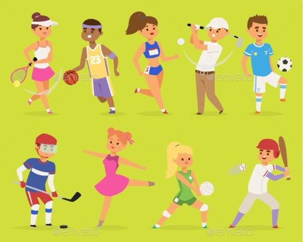 Ssportsmen Vector Cartoon Characters Boy and Girl