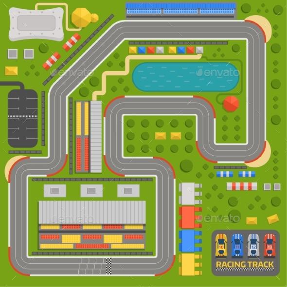 Race Car Sport Track Curve Road Vector. Top View