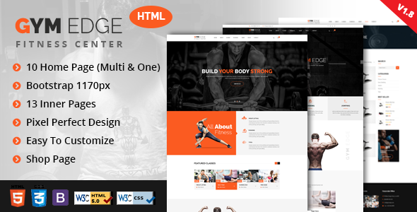 GYM Edge - Fitness HTML5 Responsive Template