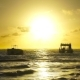 Sunrise over Ocean Waves with Two Boats - VideoHive Item for Sale