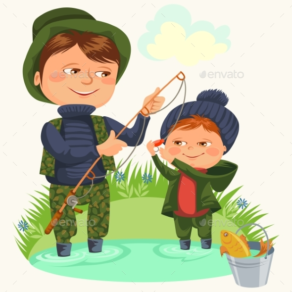 Father and Son Water Fishing Holding Rod