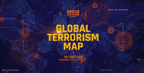 Global Terrorism Map 4K/Politics and Economic Presentations/ World Terror Infographic/ Bomb & Weapon