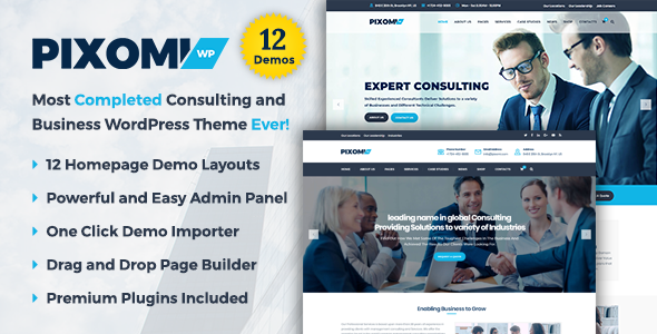 Pixomi – A Modern Consulting and Business WordPress Theme