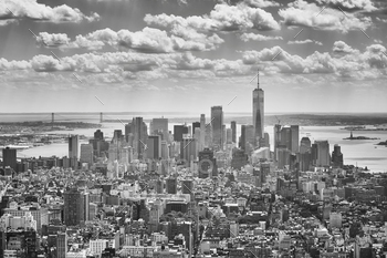Black and white picture of the New York skyline, USA.