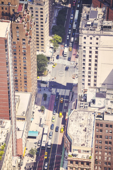 Aerial picture of street in New York City, USA.