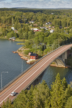 Finland landscape with lake and forest. Aland islands. Finstrom bridge