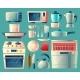 Vector Cartoon Set of Kitchen Appliances - GraphicRiver Item for Sale