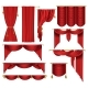 Vector 3d Realistic Set of Red Luxury Curtains - GraphicRiver Item for Sale