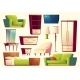 Vector Cartoon Set of Furniture - Sofa, Bed - GraphicRiver Item for Sale