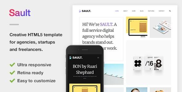 Sault - Creative Portfolio HTML5 Template for Agencies, Startups & Freelancers