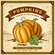 Retro Pumpkin Harvest Label With Landscape - GraphicRiver Item for Sale