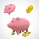 Piggy Bank and gold coins 001