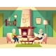 Vector Cartoon Old Man and Woman in Living Room - GraphicRiver Item for Sale