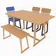 Dining set consisting of a table,bench and chairs primavera - 3DOcean Item for Sale