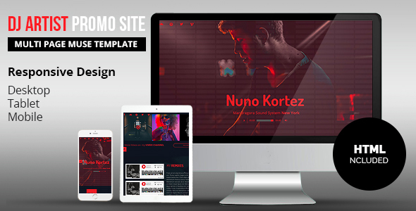 DJ Artist Promo Site Adobe Muse Template