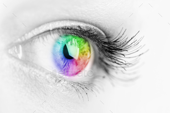 Girl colorful and natural rainbow eye