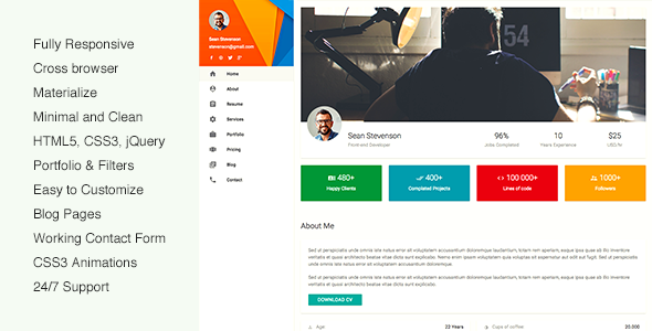 Download mateCard – Materialize CV Resume Template Nulled