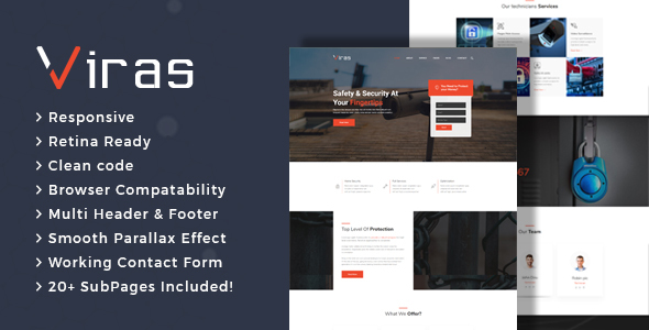 Viras - Security Services HTML Template