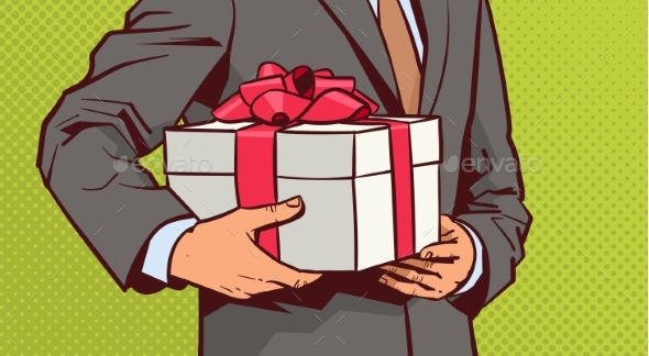 Businessman Holds Gift