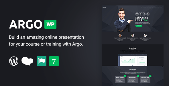 Argo - Training Course  WordPress Landing Page Theme