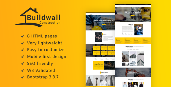 BUILDWALL – A Lightweight & Modern Construction Template
