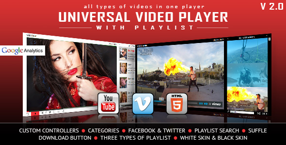 Universal Video Player - YouTube / Vimeo / Self-Hosted