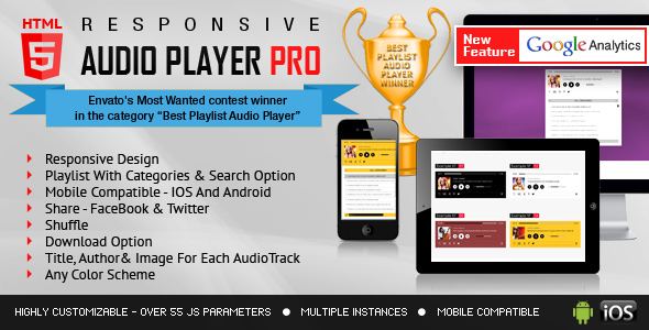 Responsive HTML5 Audio Player PRO With Playlist
