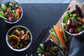 Marinated vegetables in bowls and chopsticks copy space. Asian cuisine - PhotoDune Item for Sale