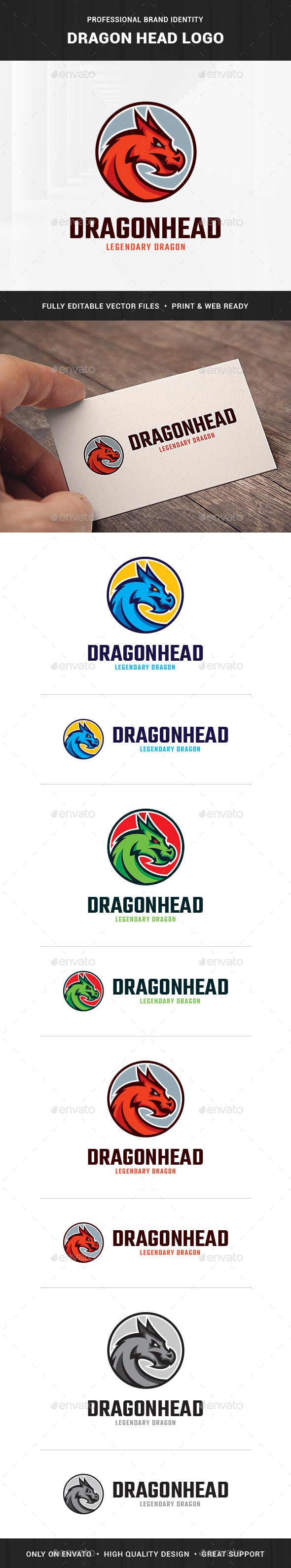 Dragon Head Logo Template