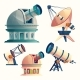 Vector Cartoon Set with Astronomical Equipment - GraphicRiver Item for Sale