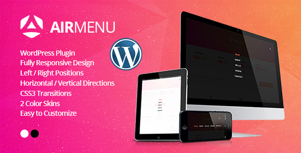 Photo of AirMenu – Duyarlı Tam Ekran Navigasyon WordPress Eklentisi Full Download