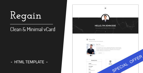 Regain - Clean & Minimal Personal vCard HTML Template