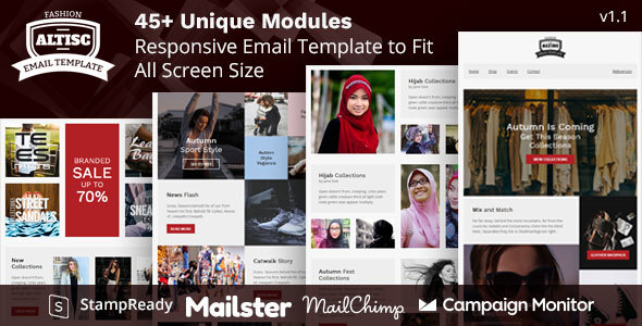 Altisc - Responsive Ecommerce Email Newsletter with Online Builder Stampready