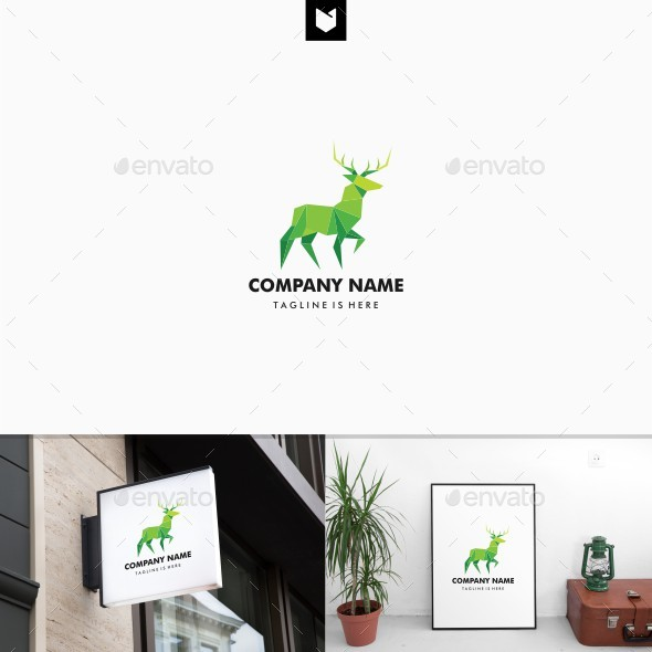 Geometric Deer Lowpoly Logo