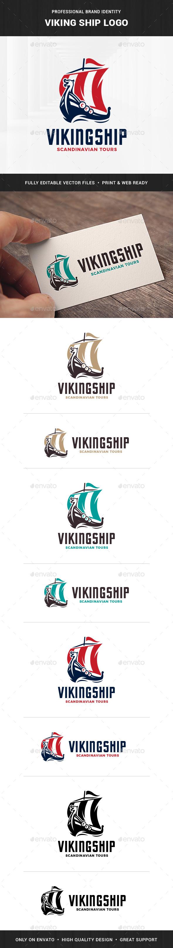 Viking Ship Logo Template