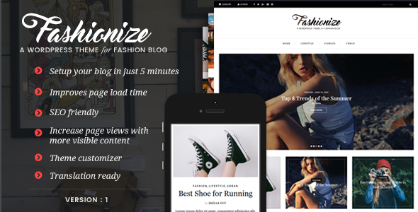 Fashionize - Responsive WordPress Blog Theme