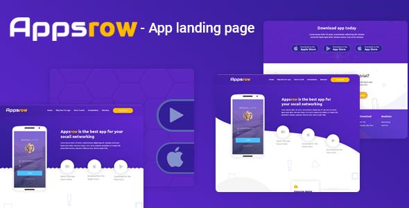 Appsrow - App Landing Page PSD Template