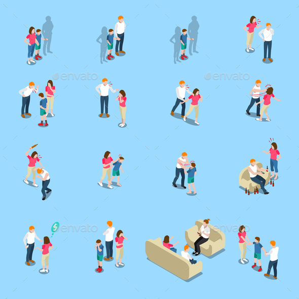 Family Problems Isometric Icons