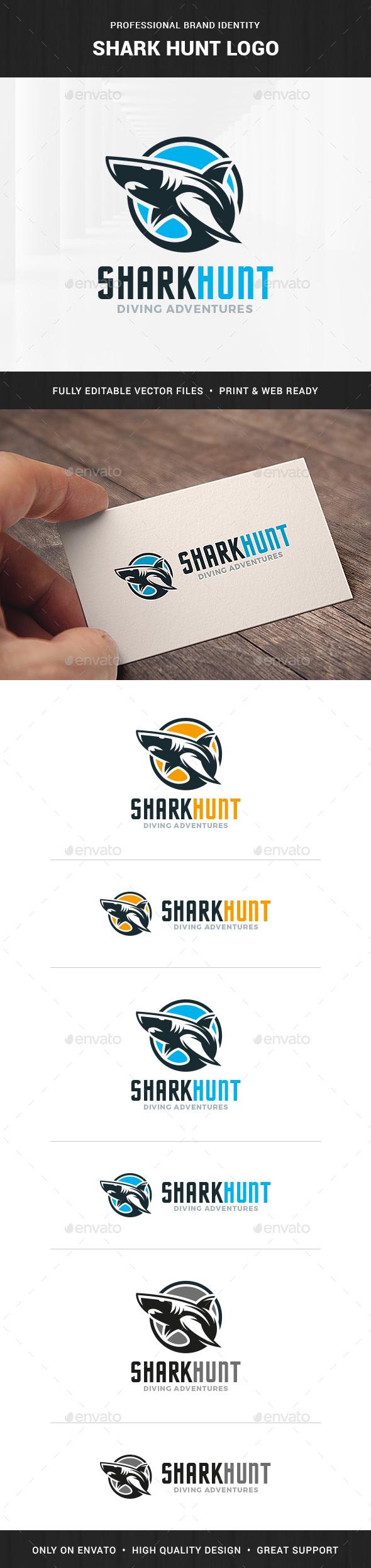 Shark Hunt Logo Template