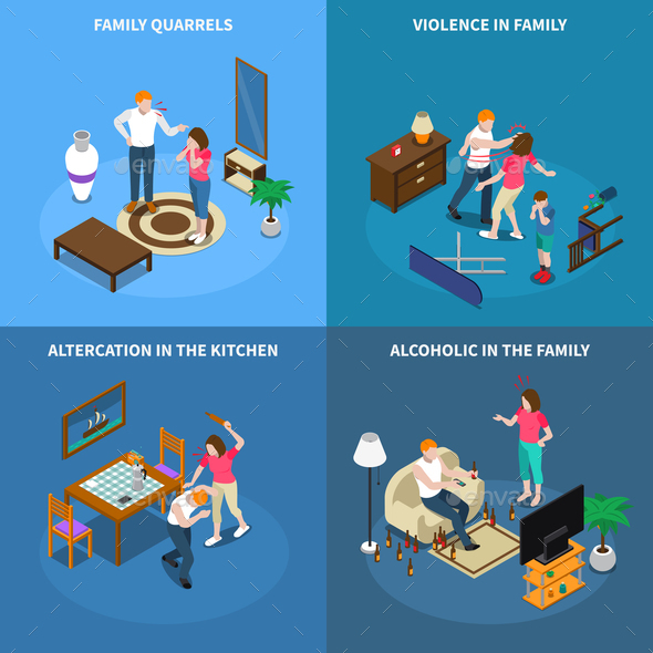 Family Problems Isometric Design Concept